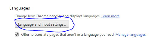 Languages and input settings