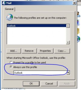 Outlook Profile Always On