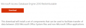 Microsoft Access Database Engine 2010 Redistributable