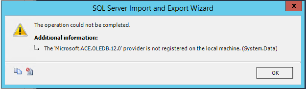 'Microsoft.ACE.OLEDB.12.0' provider error